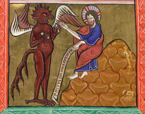 Detail of a miniature of the First Temptation of Christ: from a Psalter, England (Oxford), c. 1200–1225, Arundel MS 157, f. 5v